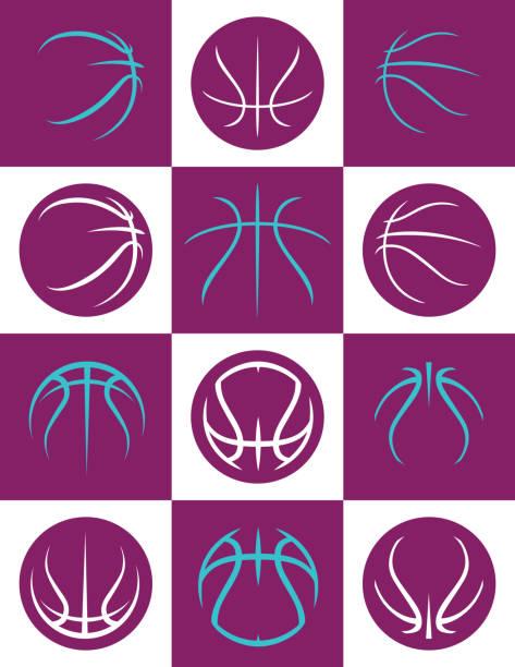 Assorted Basketball Seam Graphics vector art illustration