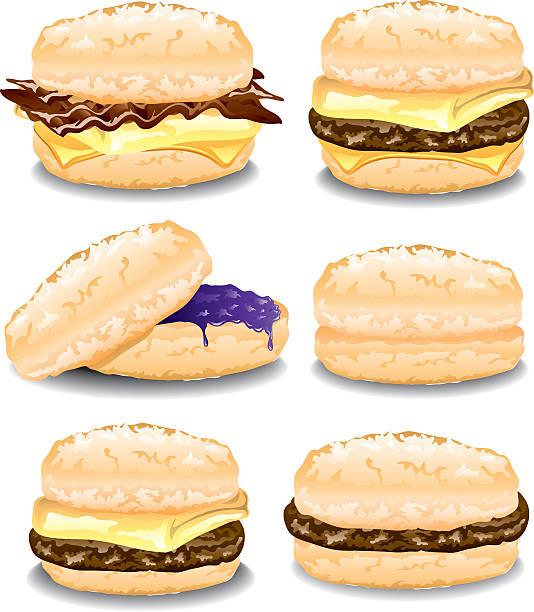 bildbanksillustrationer, clip art samt tecknat material och ikoner med assorted biscuits - cheese sandwich
