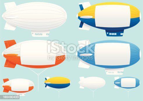 Assorted blimps! All isolated from background, and ready for your advertisement. Plenty of copy space on each one. Four with the gondola below and four of the tethered variety. The white blank square copy space areas can be removed very easily from any blimp if you need just the blimp itself (like the white ones).