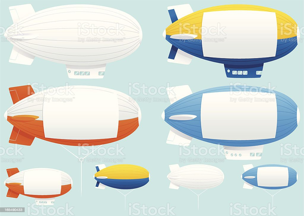 Assorted blimp airships vector art illustration
