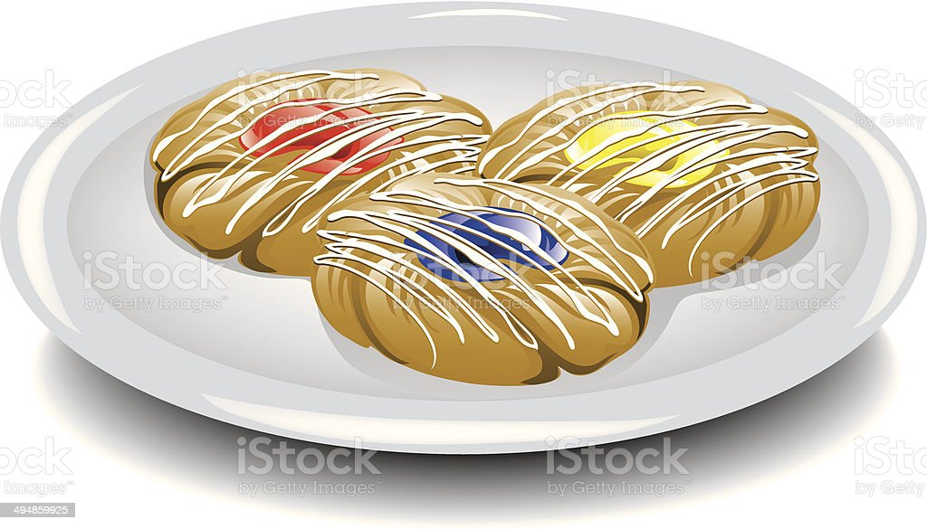 Assorted breakfast sweets vector art illustration