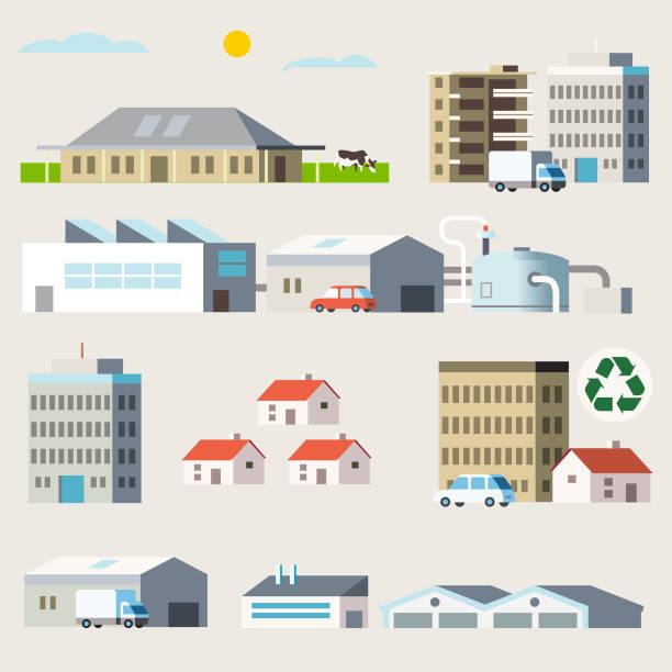 ilustrações, clipart, desenhos animados e ícones de diversos edifícios - fábrica