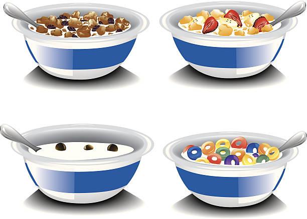 illustrazioni stock, clip art, cartoni animati e icone di tendenza di assortimento di cereali - corn flakes