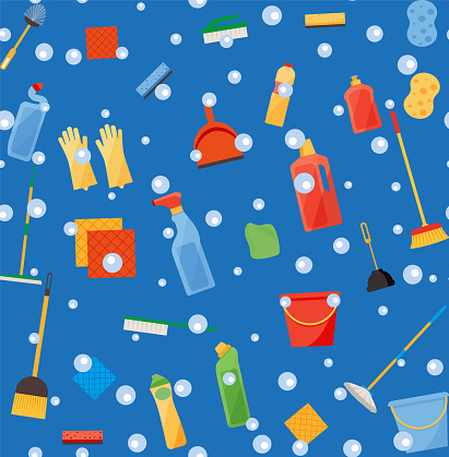 Assorted cleaning items set with brooms, bucket, mops, spray, brushes, sponges. Seamless pattern