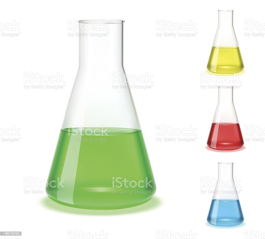 Assorted colored laboratory flasks  vector art illustration