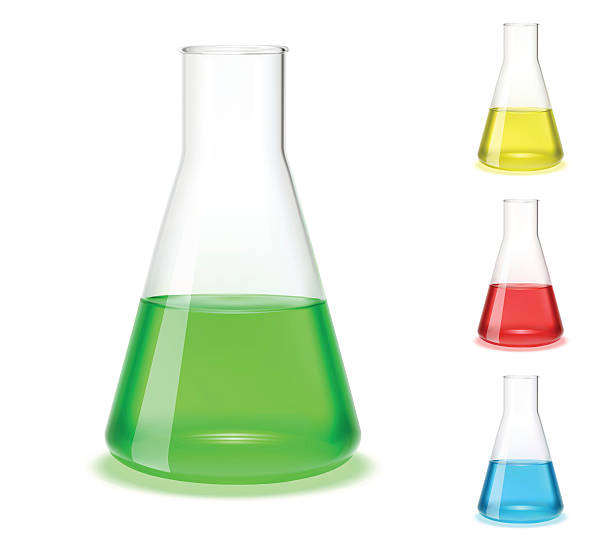 Assorted colored laboratory flasks  Vector illustration of a laboratory flask. beaker stock illustrations