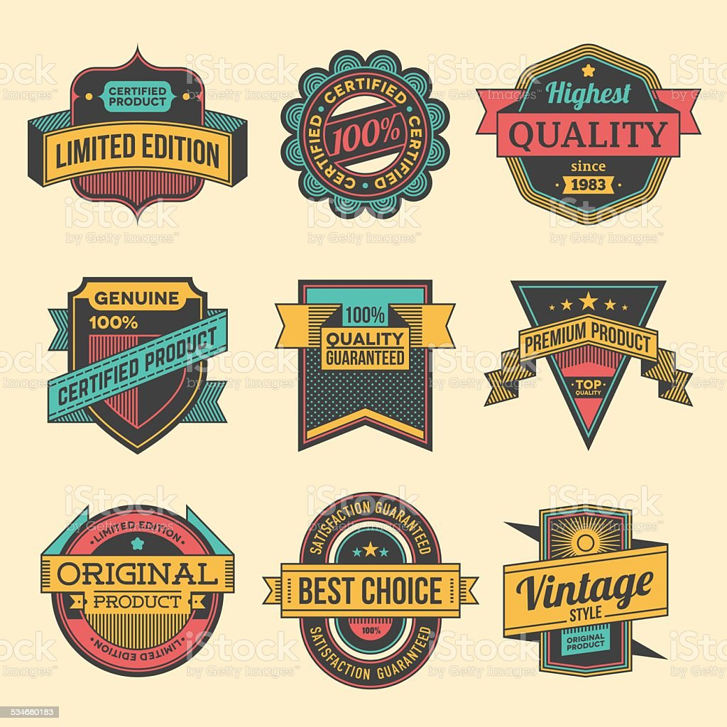 Assorted designs vector colorful vintage badges and labels set 2. vector art illustration