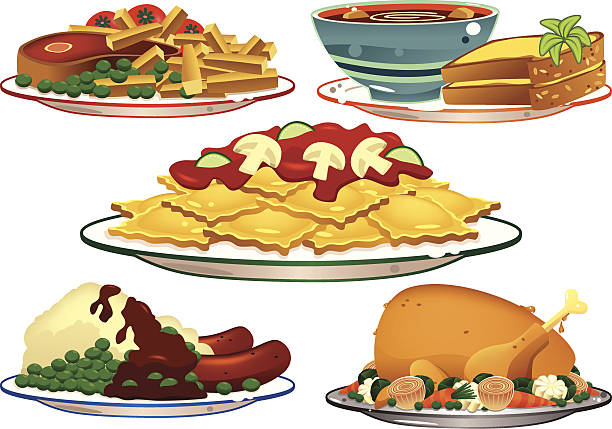 Assorted food dishes Five isolated illustrations of various hot meals; Steak and fries (chips), Bowl of soup and bread, pasta with a tomato sauce, Sausages and mashed potatoes and a Roast chicken with assorted vegetables. serving dish stock illustrations