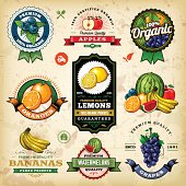 A collection of assorted vintage styled fruit labels. EPS 10 file, layered & grouped, with meshes and transparencies (shadows & overall effects only).