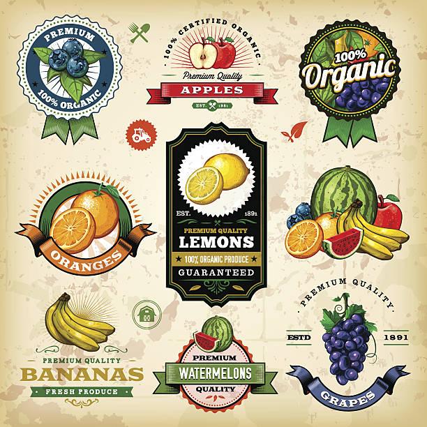 illustrazioni stock, clip art, cartoni animati e icone di tendenza di assortimento di frutta etichette - organic food