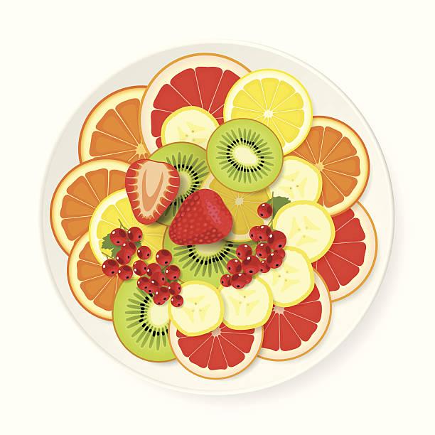 ilustrações, clipart, desenhos animados e ícones de prato de frutas variadas - fruit salad