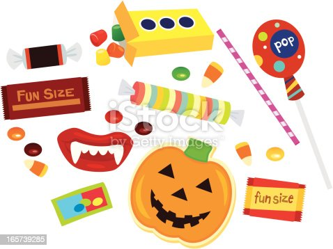 Lots of Halloween candy for your little trick-or-treater. Editable vector file.