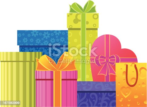 Gift boxes and paper bags in different colors