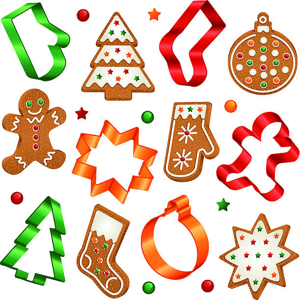 Assorted gingerbread cookies and they're cutters Collection of Christmas gingerbread cookies and Christmas cookie cutters cookie cutter stock illustrations