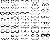 A collection of 65 various styles of glasses in solid black.