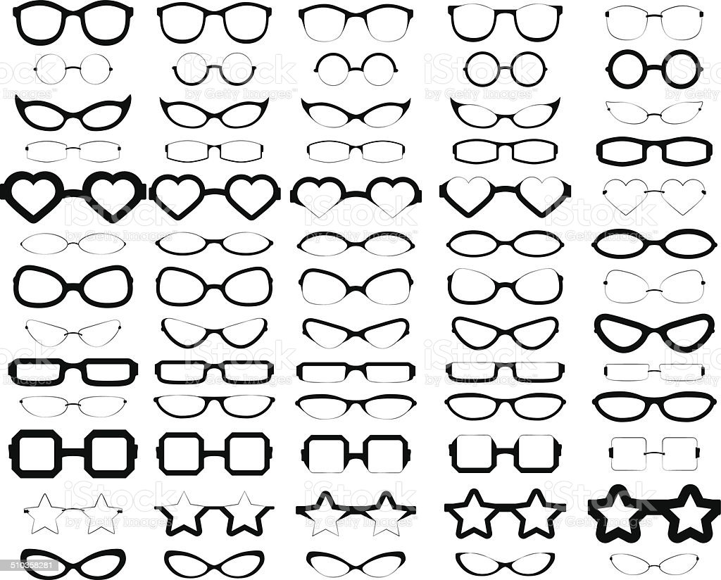 Assorted Glasses Silhouettes vector art illustration