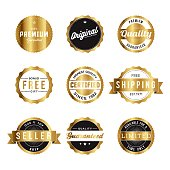 A set of gold foil product marketing labels. Vector EPS file is CMYK color space for optimal printing.
