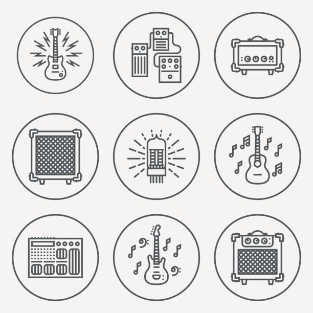 Assorted Guitar Stuff. Line Design Circle Icon Set. Vector Illustrations. vector art illustration