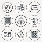Assorted Guitar Stuff. Line Design Circle Icon Set. Vector Illustrations.