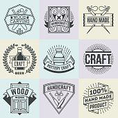 Assorted Hand Craft Insignias Logotypes Template Set.