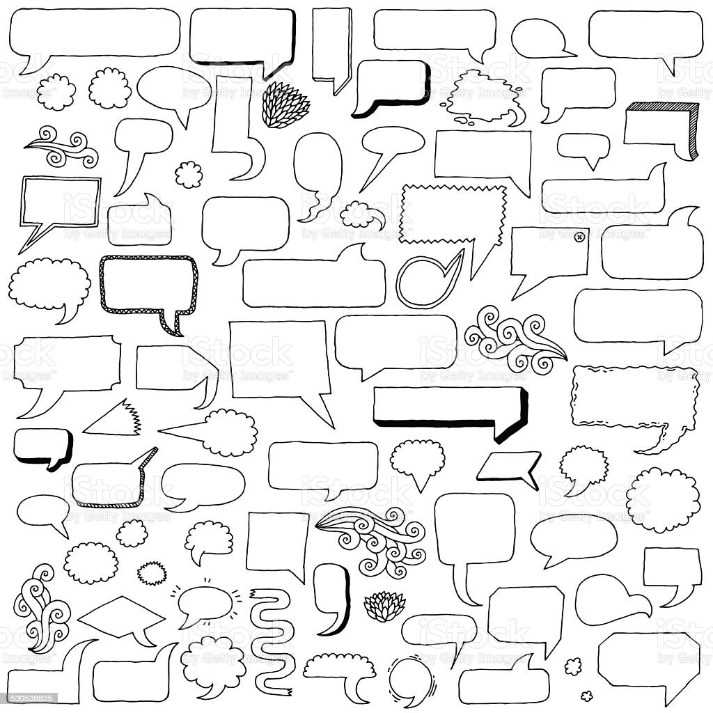 Assorted hand drawn doodle speech bubbles vector set. vector art illustration