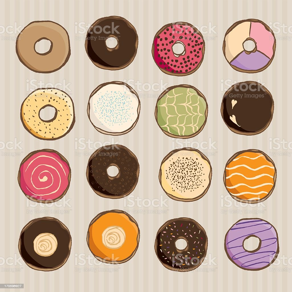 Assorted hand sketch donut royalty-free stock vector art
