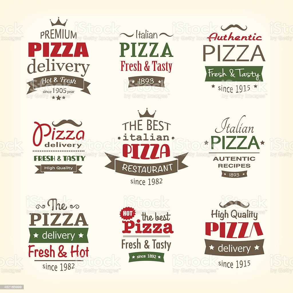 Assorted logos advertising pizza delivery vector art illustration