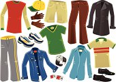 Fifteen isolated male clothing items. Included are; sweatshirt, gloves, baseball hat, cargo shorts, trousers, overcoat, jogging bottoms, running shoes, denim jacket, t-shirt, long sleeve shirt, short sleeve shirt, shoes, cufflinks and wrist watch.