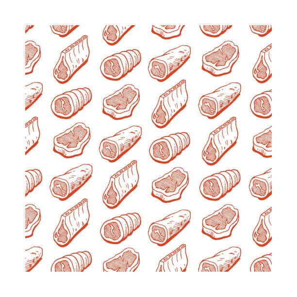 bildbanksillustrationer, clip art samt tecknat material och ikoner med blandade kött mönster - loin