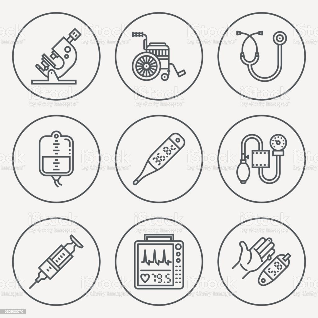 Assorted Medical Devices Circle Icon Set. Line Design Vector Illustrations. royalty-free assorted medical devices circle icon set line design vector illustrations stock vector art & more images of aids
