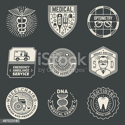 Assorted Medical Insignias Logotypes Template Set On Dark. Line Art Vector Elements.