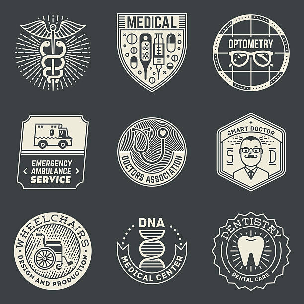 各種医療 insignias logotypes テンプレートセットに暗くなります。 - ヘルメスの杖点のイラスト素材/クリップアート素材/マンガ素材/アイコン素材