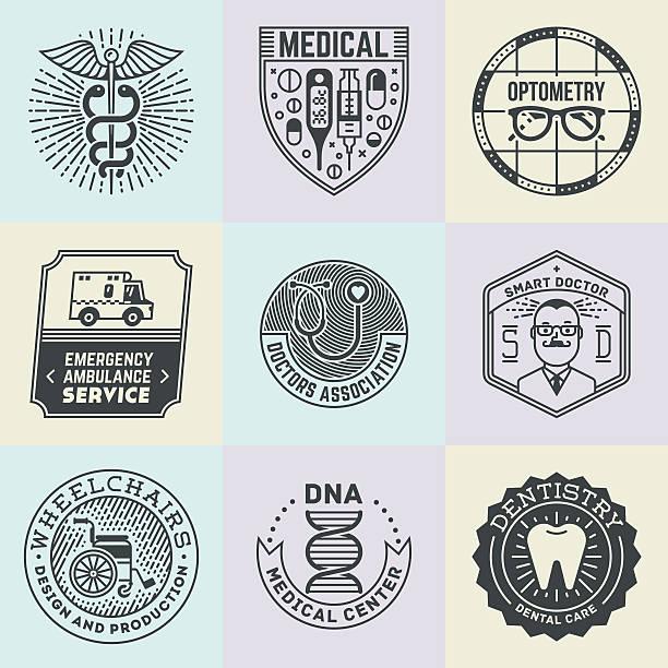 verschiedene medizinische insignias logotypes vorlage-set. - markenbrillen stock-grafiken, -clipart, -cartoons und -symbole