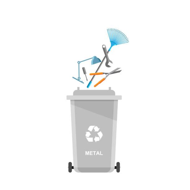 ilustrações de stock, clip art, desenhos animados e ícones de assorted metal trash in special urn. - box separate life