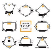 Assorted modern tribal out line shapes, labels and emblems set