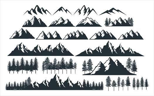 assorted mountain pine tree vector graphic design template set for sticker, decoration, cutting and print file