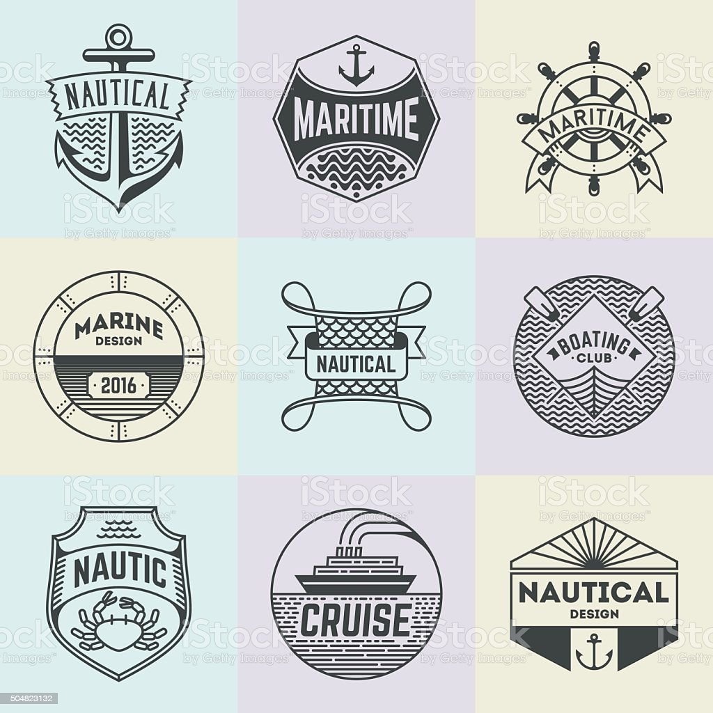 Assorted Nautical Insignias Logotypes Template Set. vector art illustration