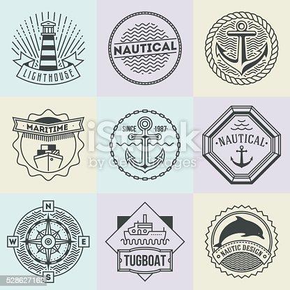 Assorted Nautical Logotypes Set. Thin Line Art Vector Vintage Style Elements. Elegant Geometric Design.