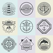 Assorted Nautical Logotypes Set. Thin Line Art Vector Style Elements.