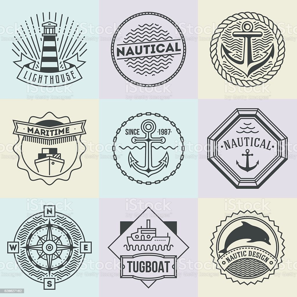 Assorted Nautical Logotypes Set. Thin Line Art Vector Style Elements. vector art illustration