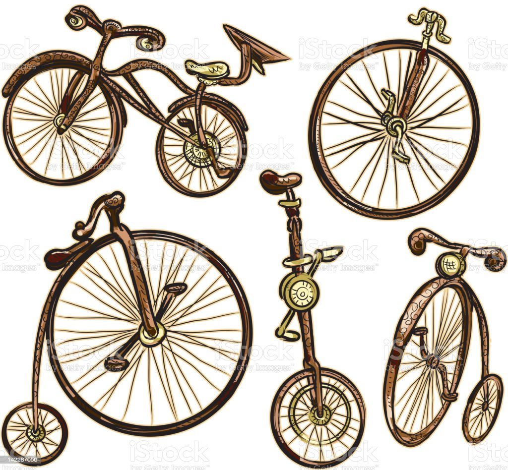 Assorted old fashioned bicycles isolated on white royalty-free stock vector art