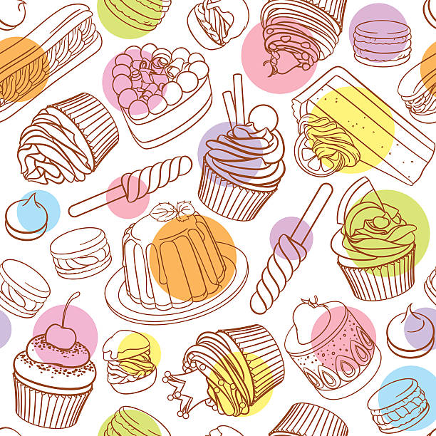 Assorted outlined colorful desserts. Seamless vector pattern with polka dots. Assorted pastel outlined colorful desserts, pastries, sweets, candies, cupcakes. Seamless vector pattern with polka dots on white background. cake backgrounds stock illustrations