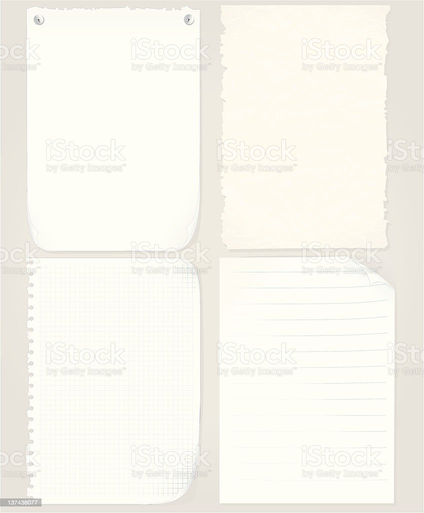 Assorted Paper Sheets royalty-free stock vector art