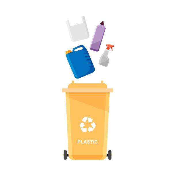 ilustrações de stock, clip art, desenhos animados e ícones de assorted plastic trash in special urn. - box separate life