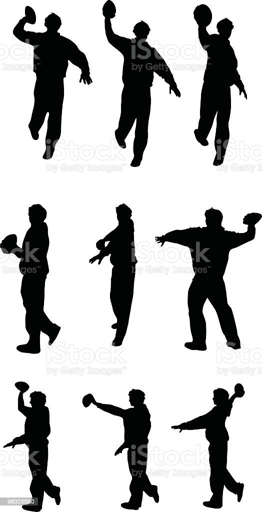 Assorted poses of guy throwing a football royalty-free assorted poses of guy throwing a football stock vector art & more images of american culture