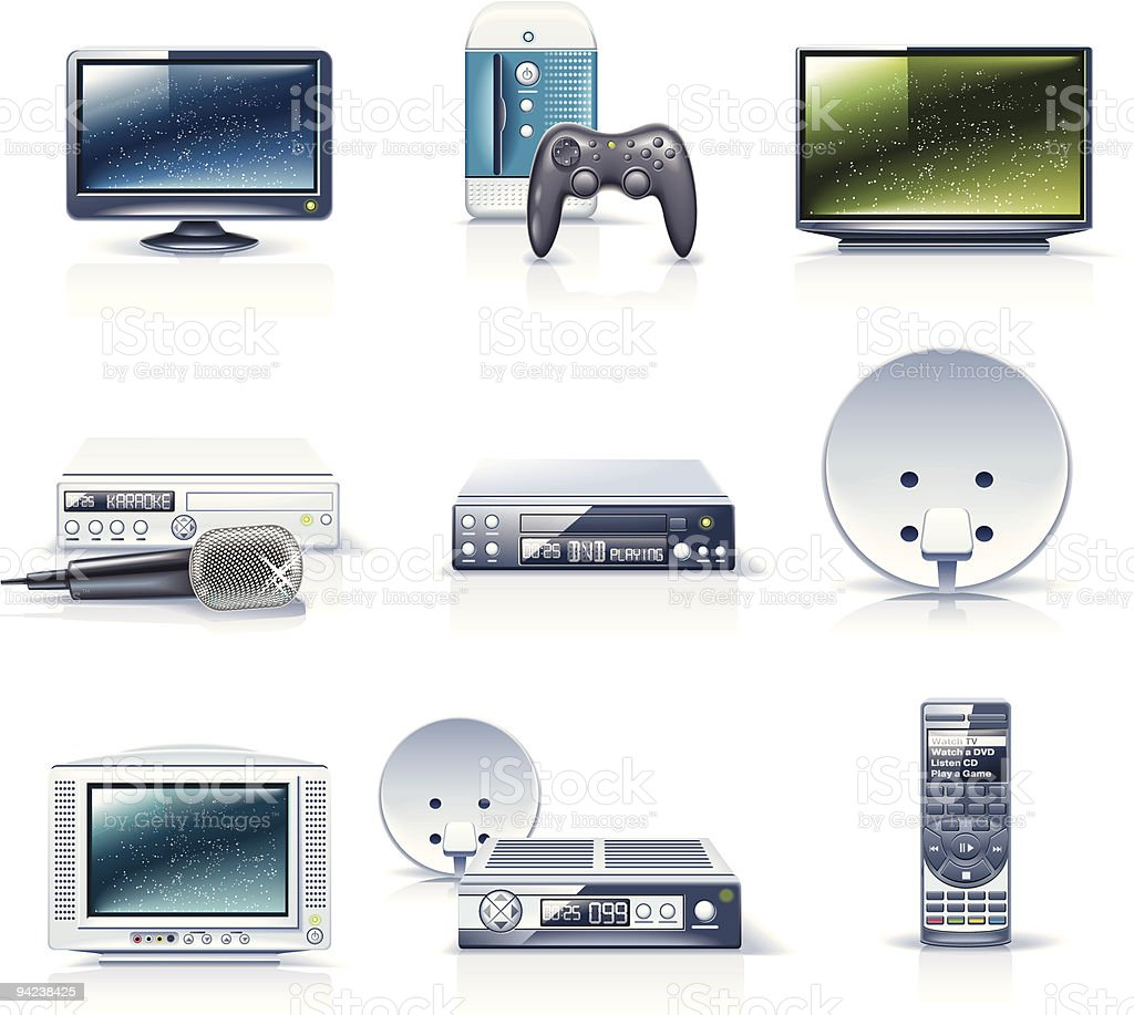 Assorted realistic icons of electronics vector art illustration