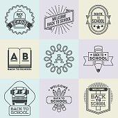 Assorted retro design insignias back to school logotypes set.