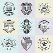 Assorted retro design insignias high education logotypes set 1.