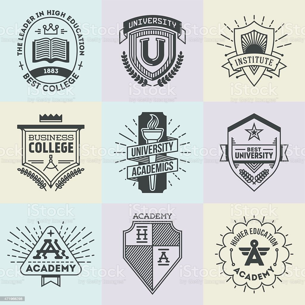 Verschiedenen retro-design insignias high Bildung logotypes set 1. – Vektorgrafik
