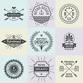 Assorted retro design insignias logotypes set 1. Vector vintage elements.